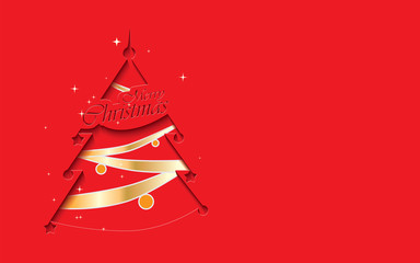 Cutout stylized red Christmas tree with text Merry Christmas and golden decoration