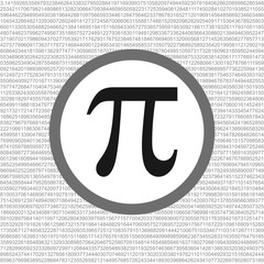 The Pi symbol mathematical constant irrational number on circle, greek letter