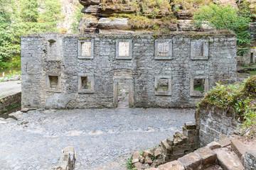 Ruins of Dolsky Mill, Dolsky mlyn, at River Kamenice in Bohemian Switzerland National Park, Czech Republic.
