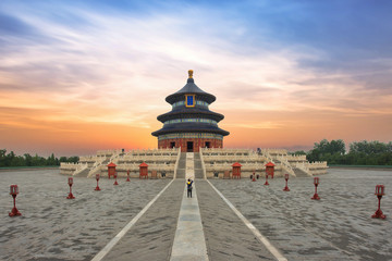 In de dag Temple Wonderful and amazing Beijing temple - Temple of Heaven in Beijing, China. Hall of Prayer for Good Harvest..