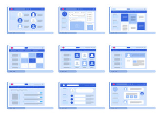 Social network web interface. Concept in flat design vector illustration