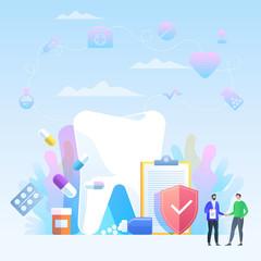 Dental insurance, dental care concept. Dental insurance form, tooth, flat design