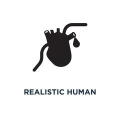 Realistic human heart icon. Simple element illustration. Realist