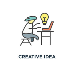 creative idea icon. cute funny character typing concept symbol design, working at cozy home office, the inspiration came, new solution to the problem, freelance, home office in light design, vector