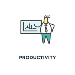 productivity dashboard icon, cute businessman analyzing a business analytics or intelligence, showing sales and operations data statistics charts and key performance indicators (kpi), made