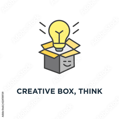 Creative Box Think Outside The Box Icon Symbol Of Creativity And
