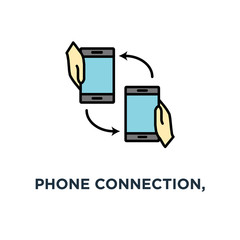 phone connection, two mobile smartphones in human hands with rotation arrow icon. incoming calls, files, concept symbol design, data change, communication, sharing, data exchange, send and receive