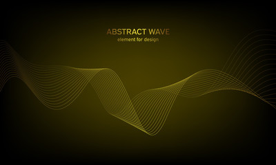Abstract wave element for design. Digital frequency track equalizer. Stylized line art background. Colorful shiny wave with lines created using blend tool. Curved wavy line, smooth stripe. Vector.