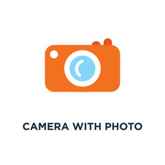 camera with photo icon. photography concept symbol design, digital photo camera with image, photographer equipment vector illustration