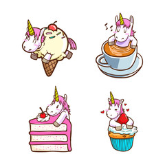 cute unicorn with foods