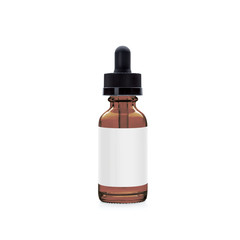 Small amber vape liquid bottle with shadow isolated on white background