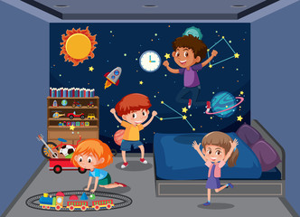 Children playing in bedroom