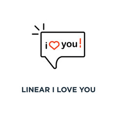 linear i love you text in speech bubble icon, symbol of lover saying words of recognition in amour concept simple style trend modern logotype graphic design