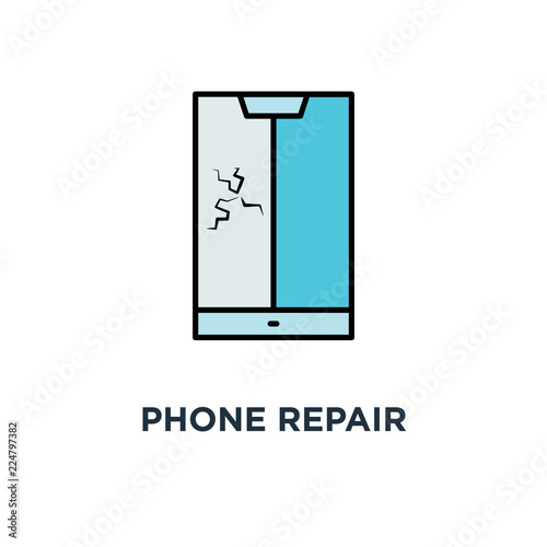 Phone Repair Service After Breakage Icon Symbol Of Badge For Fast