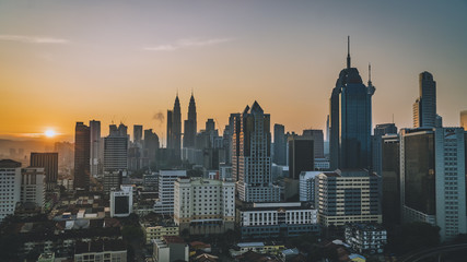 Colorful and dramatic sky during golden hours at Kuala Lumpur, Malaysia