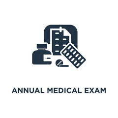 annual medical exam icon. regular health check up concept symbol design, medication course, calendar period, preventive examination appointment, medical services vector illustration