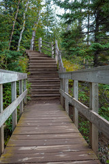 Wooden stairs on hiking trail at Tettegouche State Park along the shores of Lake Superior