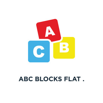 abc blocks flat . alphabet cubes with a icon. c letters in flat concept symbol design, vector illustration
