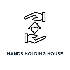 hands holding house with heart icon. hands holding house with heart concept symbol design, vector illustration