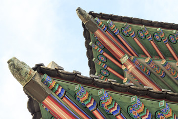 Palace of Korea,Korean Wooden Roof,Gyeongbokgung Palace in Seoul , South Korea