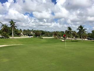 Beautiful view of golf course green hole flag in tropical southern location on a clear summer day along side highway.