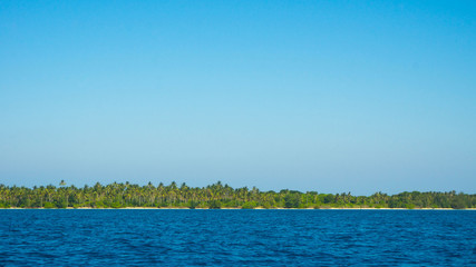 an island with a lot of palm tree coconut in low land islands in the middle of sea in distance