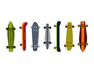 Skateboard illustrations for use as placement prints on children's apparel, nursery wall art, scrapbooking and more. Vector illustrations isolated on white.