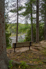 Park bench overlooking scenic St. Louis River at Jay Cooke State Park