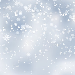 Falling shining snow or snowflakes on blue background for Happy New Year. Vector.