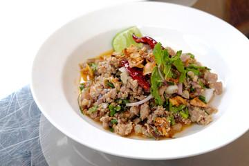 Spicy duck food Northeast of Thailand.
