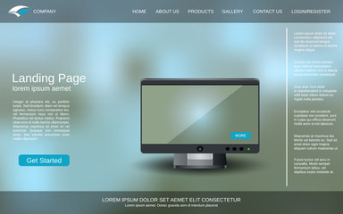 Website landing page design template. Colorful blurred vector background with desktop monitor illustration