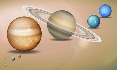 Solar system three dimensional concept