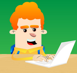 Schoolboy working with laptop. Vector cartoon character illustration.