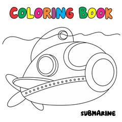 submarine coloring page, transportation coloring book