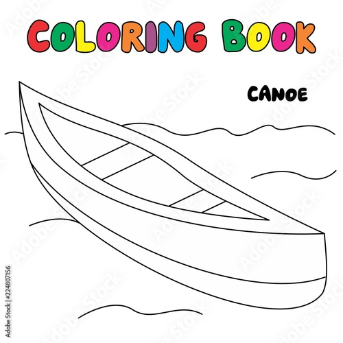 Canoe Coloring Page Transportation Coloring Book Stock Image And