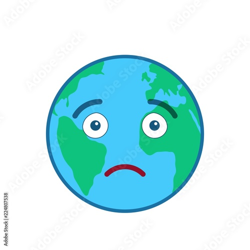 Disappointed World Globe Isolated Emoticon Sorrowful Blue Planet
