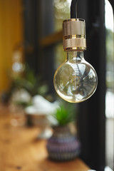 Electrical bulb in retro style in interior