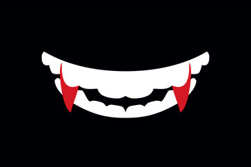 Vampire mouth with fangs illustration of Halloween