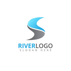 river stream flowing letter s shape vector logo design