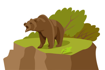 terrible angry bear growls at the edge of a cliff. Cartoon vector illustration