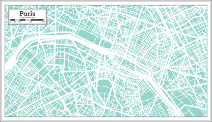 Paris France City Map in Retro Style. Outline Map.