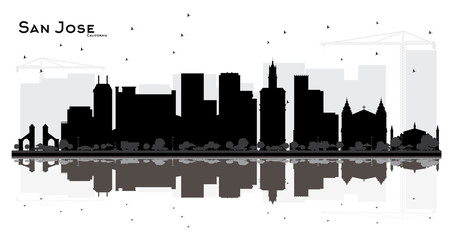 San Jose California City skyline black and white silhouette with Reflections.