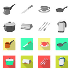 Isolated object of kitchen and cook logo. Collection of kitchen and appliance stock symbol for web.