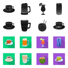 Isolated object of drink and bar logo. Collection of drink and party stock vector illustration.