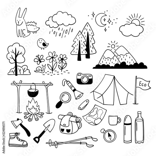 Set Of Hand Drawn Outdoor Camping Equipment Icons Hiking Mountain