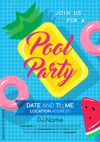 pool party invitation vector illustration swimming pool with