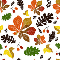 Seamless pattern, colored silhouettes of leaves and berries in the form of bright spots on a white background.