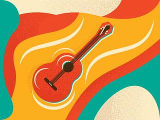 Color Background with Guitar and abstract design elements. Vector illustration