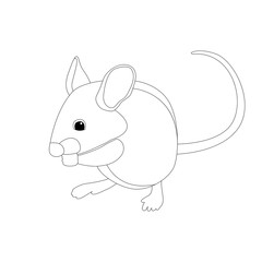 cartoon mouse vector illustration   coloring book   profile