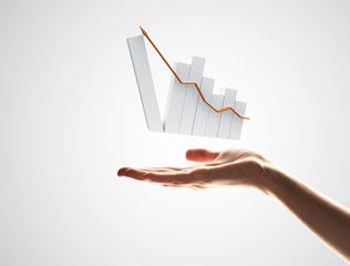 Concept of financial growth and progress by increasing arrow in palm